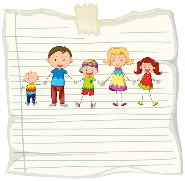 Disegno di carta con i membri della famiglia che si tengono per mano