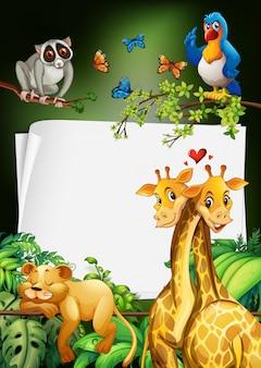 Disegno di carta con sfondo di animali selvatici