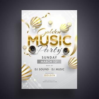 Disegno di carta d'invito festa musica dorata con woofer e 3d ab