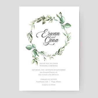 Disegno di carta del modello dell'invito di nozze dell'acquerello