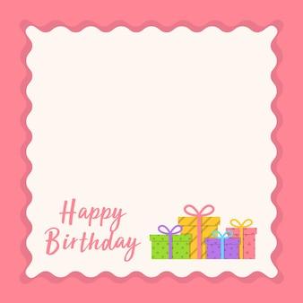 Disegno di carta di buon compleanno con spazio testo e contenitore di regali