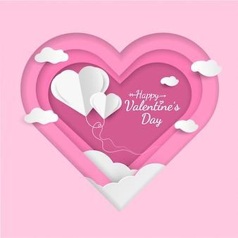 Disegno di carta felice san valentino con palloncini a forma di cuore.