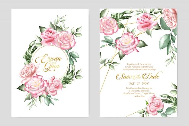 Disegno di carta floreale modello di invito a nozze
