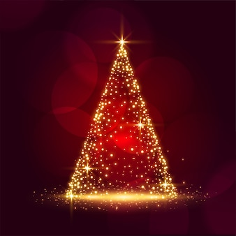 Disegno di carta rosso brillante di bello festival dell'albero di natale della scintilla