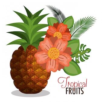 Disegno di cartoni animati ananas tropicali