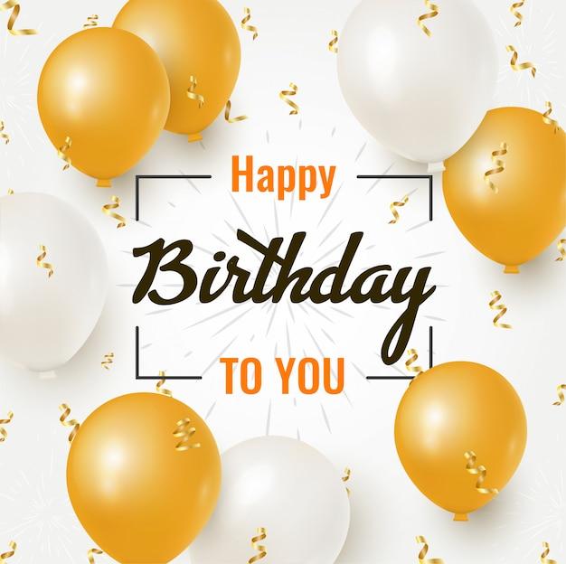 Disegno di celebrazione di buon compleanno con palloncini dorati e bianchi realistici e coriandoli di lamina che cade per biglietto di auguri