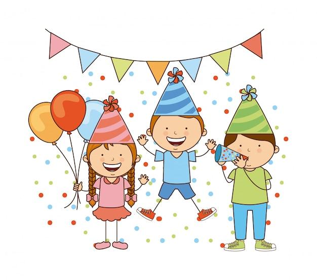 Disegno di compleanno sopra illustrazione vettoriale sfondo bianco