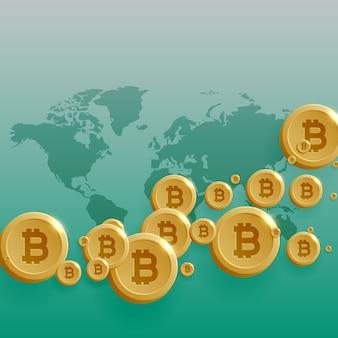 Disegno di concetto di valuta di bitcoins con la mappa del mondo