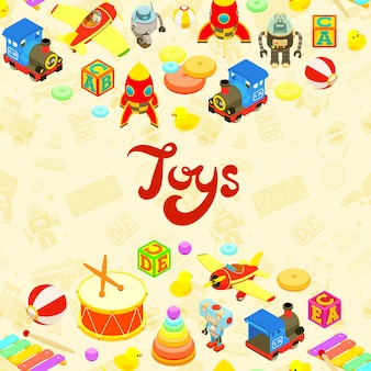 Disegno di decorazione di vettore fatto di giocattoli