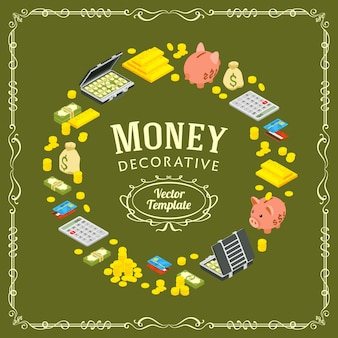 Disegno di decorazione vettoriale fatto di oggetti legati alla finanza