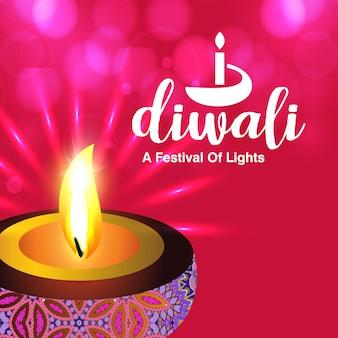 Disegno di diwali con sfondo rosa e tipografia vettoriale