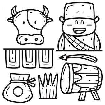 Disegno di doodle per eid al-adha disegnato a mano
