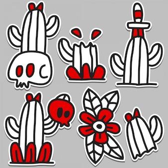 Disegno di doodle tatuaggio albero di cactus carino