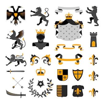 Disegno di emblemi di simboli reali araldici