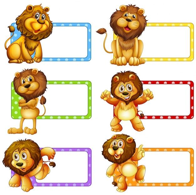Disegno di etichetta con illustrazione dei leoni carini
