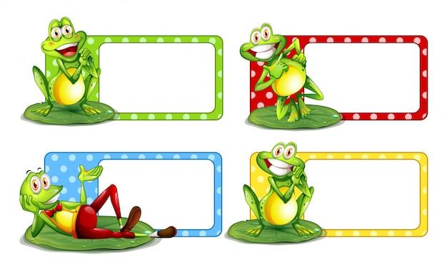 Disegno di etichetta con rane verdi su foglie illustrazione