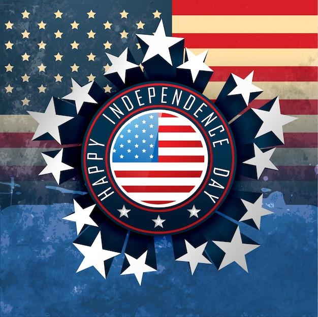 Disegno di etichetta distintivo di giorno dell'indipendenza americana