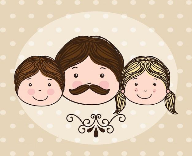 Disegno di famiglia sopra illustrazione vettoriale sfondo punteggiato