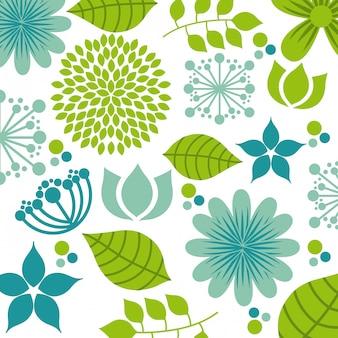 Disegno di fiori sopra illustrazione vettoriale sfondo bianco
