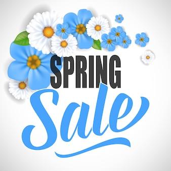 Disegno di flyer vendita primavera con chamomiles e forget me nots
