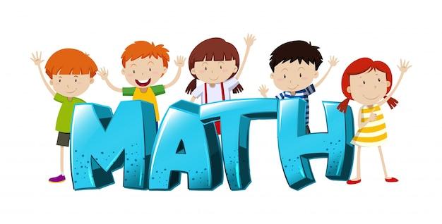 Disegno di font per la parola matematica con illustrazione di ragazzi e ragazze