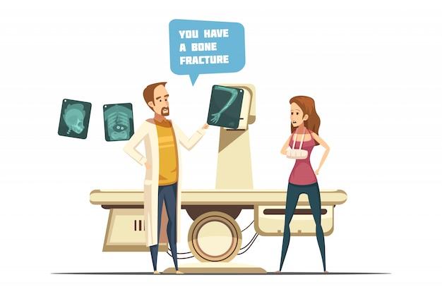 Disegno di frattura ossea tra cui medico con paziente xray con braccio in gesso in stile retrò dei cartoni animati