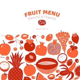 Disegno di frutta disegnata a mano scandinavo. illustrazioni vettoriali stile linoleografia. cibo salutare.