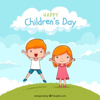Disegno di giorno dei bambini con il ragazzo di salto