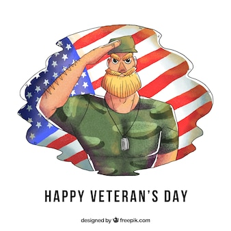 Disegno di giorno dei veterani con soldato disegnato a mano