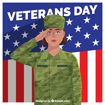 Disegno di giorno dei veterani con soldato femminile