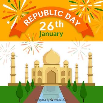 Disegno di giorno della repubblica indiana con taj mahal