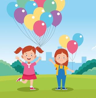 Disegno di giorno di bambini felici con bambini felici dei cartoni animati e palloncini colorati