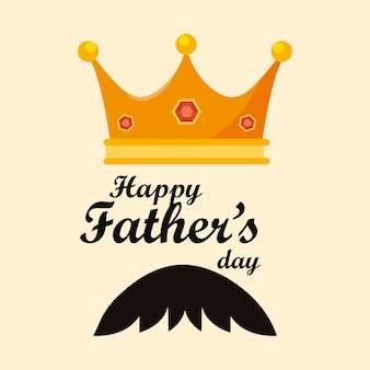 Disegno di giorno di padri felice con re icona corona e baffi