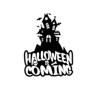 Disegno di halloween con tipografia e sfondo bianco