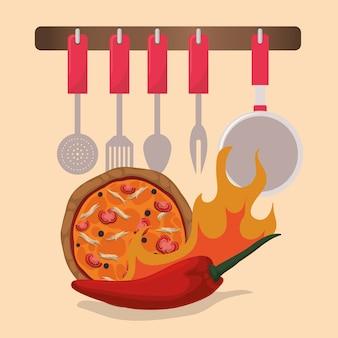 Disegno di icone di cucina domestica