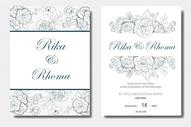Disegno di inviti di nozze floreale disegnato a mano