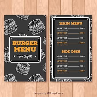 Disegno di lavagna del menu di burger