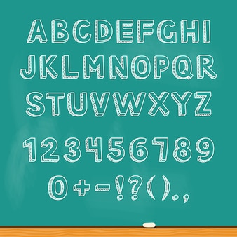Disegno di lettere dell'alfabeto sulla lavagna