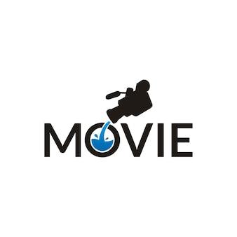 Disegno di logo di film tipografia con fotocamera e acqua