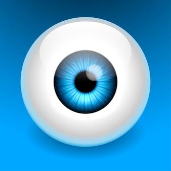 Disegno di logo di occhio blu di cura realistica.