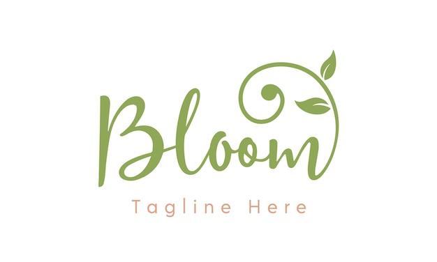 Disegno di logo di tipografia moderna bloom femminile