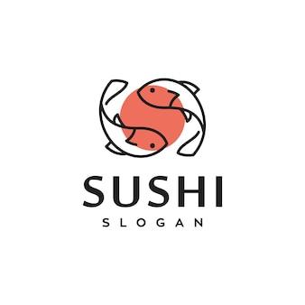 Disegno di logo di vettore di cibo tradizionale giapponese di pesce di sushi