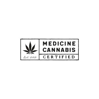 Disegno di logo timbro di cannabis rettangolo