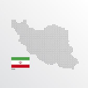 Disegno di mappa iran con bandiera e luce sfondo vettoriale