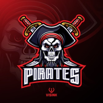 Disegno di marchio della mascotte del cranio di pirati