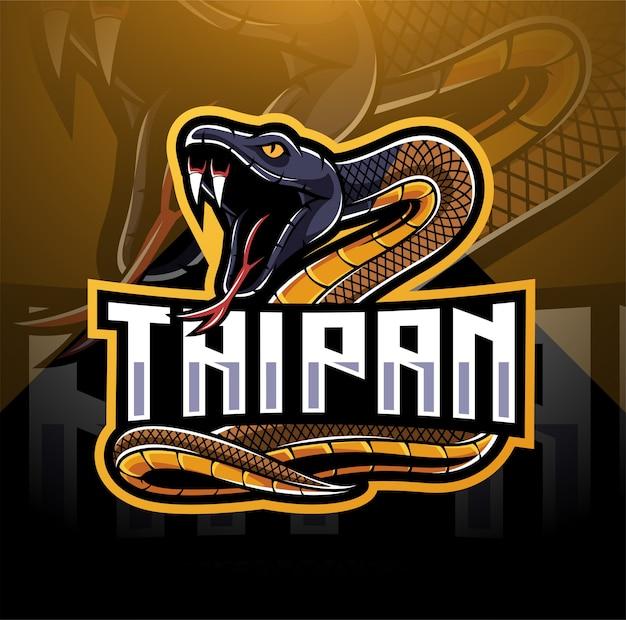 Disegno di marchio della mascotte del serpente di taipan