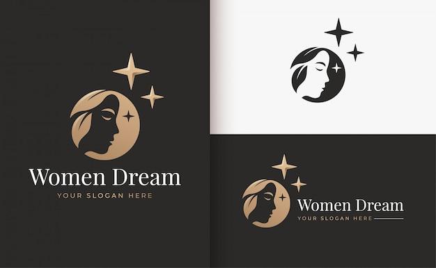 Disegno di marchio di donna sogno silhouette