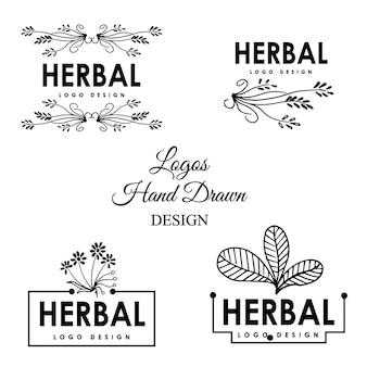 Disegno di marchio di erbe disegnate a mano