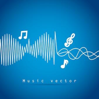Disegno di musica sopra illustrazione vettoriale sfondo blu