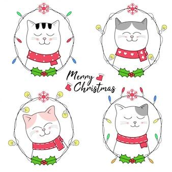 Disegno di natale con stile disegnato a mano di cartone animato carino gatto